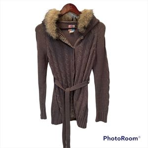 Roxy hooded knit-grey cardigan with belt and snap closure buttons Size small